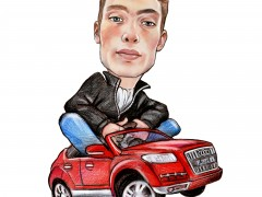 Caricature Axel Audi Q7 Version Luxe